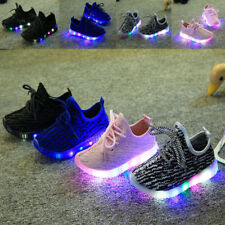 Boys Girls Kids Lace Up Mesh Sneakers Luminous Casual LED School Sports Shoes