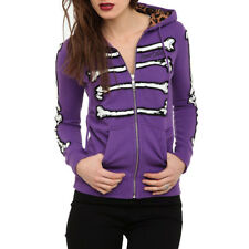 Iron Fist Abbey Dawn Skeleton Ribcage Bones Gothic Purple Zipped Hooded Top