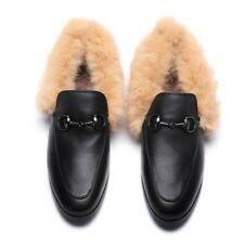 Casual Womens Slip On Faux Fur Comfy Flats Mules Fashion Leather Loafers Shoes