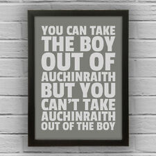 AUCHINRAITH - BOY/GIRL FRAMED WORD TEXT ART PICTURE POSTER South Lanarkshire