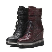 Fashion Womens Lace Up Platform Creepers High Heels Mid Calf Boots Casual Shoes