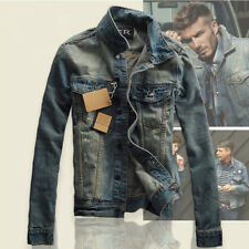 Hot Men Fashion Slim Thicken Casual Lapel Coat Jean Biker Denim Jacket Outerwear