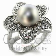 A3029 SIMULATED GRAY PEARL 14K WHITE GOLD PLATED RING