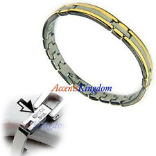 """Accents Kingdom Women's Stainless Steel Magnetic Link Golf Bracelet Size 7.5"""""""