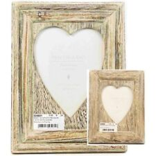 Lime Wash Wooden Photo Picture Frame Heart 5' x 7' Or 4 x 6 Shabby Chic Vintage