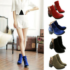 Women PU Leather Ankle Boots Platforms Block Mid Chunky High Heels Zip Shoes