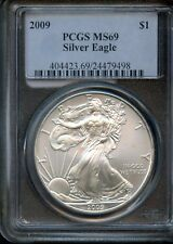2009 PCGS MS69 American Eagle 1 oz .9993 Silver Dollar Coin EE628