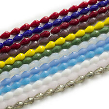 50 Pcs Teardrop Faceted Quartz Crystal Glass Jewelry Making Spacer Beads 12x8mm