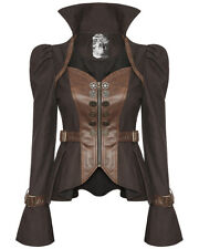 Punk Rave Womens Steampunk Jacket Brown Faux Leather Copper Gothic VTG Victorian