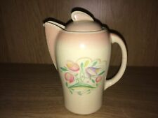 BEAUTIFUL ART DECO WATER POT IN PINK WITH DRESDEN SPRAY PATTERN BY SUSIE COOPER