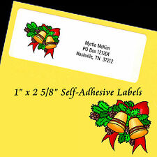 "Personalized Return Address Labels CHRISTMAS BELLS Self-Adhesive 1"" x 2 5/8"""