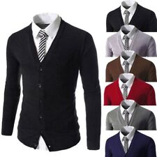 Stylish Mens Slim Fit V-neck Knitwear Pullover Cardigan Sweater Jacket Coat Tops