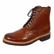 GRENSON BOOTS FRED MENS HAND PAINTED TAN LEATHER BROGUES