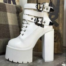 Womens Punk Rock Platforms Lace Up Buckle Ankle Boots High Chunky Heels Shoes