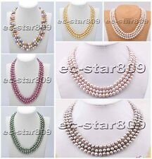 """D0171 3row 18"""" 8mm Round freshwater pearl necklace"""