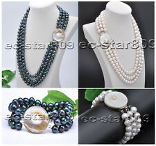 D0204 3row 10mm Round Freshwater Cultured Pearl Necklace Bracelet