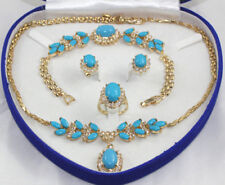 Elegant 18K Gold Plated Inlay Opal Agate Jade Necklace Bracelet Ring Earring Set