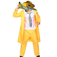 Mens 90s Yellow Gangster Zoot Suit The Mask Jim Carrey Costume Fancy Dress