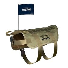 NEW SEATTLE SEAHAWKS DOG PET PREMIUM TACTICAL VEST HARNESS w/ TEAM FLAG