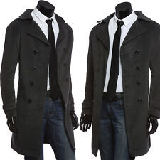 Mens Wool Blends Trench Coat Winter Long Jacket Double Blazer Breasted Overcoat