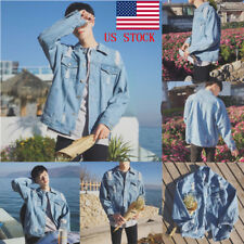 Men Korean Fashion Outwear Coat Casual Overcoat Button Pocket Retro Denim Jacket