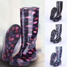 Women Rain Boots Waterproof Work Wellies Heeled Wellington Boots High Rain Shoes