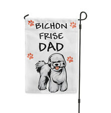 BICHON FRISE DOG Dad Yard Patio House Banner Garden Flag w/ Iron Stake