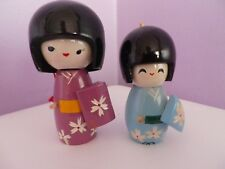 TWO VINTAGE JAPANESE WOODEN  KOKESHI DOLLS 10 & 8 CMS TALL BOTH HAVE DAMAGE