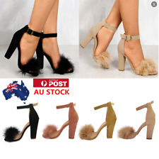 Ladies Women Suede Fur High Block Heels Ankle Strap Peep Toe Sandals Shoes Size