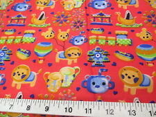 Discount Fabric Quilting Cotton Rose Red Carnival Day Trains Carousel Lion 403K