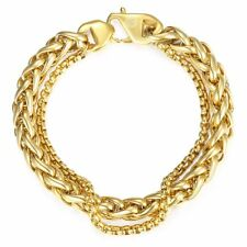 Curb Cuban Box Wheat Link Mens Bracelet Chain Stainless Steel Polish Gold Silver