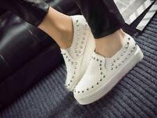 Womens Punk Spike Studded Platform Slip On Loafers PU Leather Casual Shoes