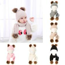 Winter Warm Knitted Plush Pom Bobble Beanie Hat Scarf Set for Baby Infant Kids