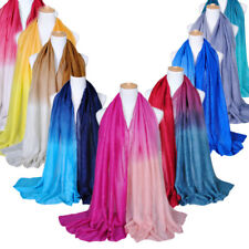 Women Ladies Shining Yarn Long Shawl Gradient Color Wrinkle Foil Scarf Wrap