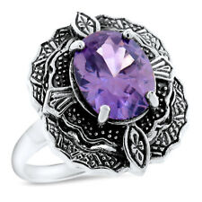3 CT COLOR CHANGING SIM ALEXANDRITE 925 STERLING SILVER ANTIQUE STYLE RING,#1059