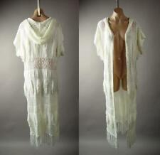 Ivory Victorian Bohemian Long Duster Hooded Sweater Cardigan 248 mv Jacket S M L