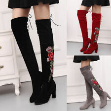Women Embroidery Thigh High Over The Knee Boots Ladies High Heel Retro Shoes