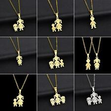 Unique Stainless Steel Single Mother Kids Pendant Chain Necklace Jewelry Trendy