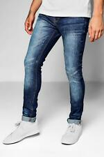 Boohoo Mens Mid Blue Skinny Fit Denim Jeans With Whiskering