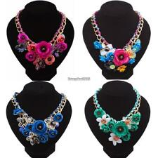 Fashion Women Chain Acrylic Crystal Flowers Wedding Party Casual Necklace Gift 5