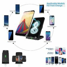 2 Coils Qi Wireless Fast Charger Charging Stand Dock for Samsung Galaxy iPhone