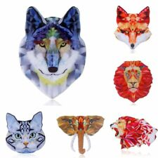 Women Costume Jewelry Animal Printing Tiger Elephant Cat Heads Brooch Pin Gift