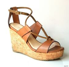 new $575 JIMMY CHOO 'Nelson 100' tan leather X-strap cork logo wedges shoes 39 9