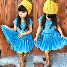 Toddler Baby Cool Blue Lace Dress Party Dress Kids Girls Comfortable Clothing TS