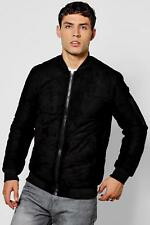 Boohoo Mens Quilted Faux Suede Bomber Jacket