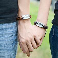 Couple Mens Love Heart Leather Braided Bracelet Hip Hop WristBand