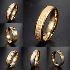New Mens 24K Gold Filled Roman Numerals Mosaic Ring Size 8-12 Lot