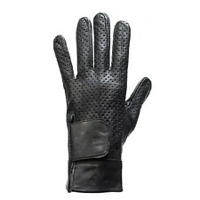 WOMENS MOTORCYCLE BIKER FULL FINGER LEATHER GLOVES w/ AIR VENTS~GEL PALM - DC45
