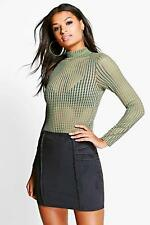 Boohoo Womens Priya Pin Tuck Detail Suedette Mini Skirt