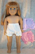 """Doll Clothes Made 2 Fit American Girl 18"""" Panties 3 Pairs White Lavender Peach"""